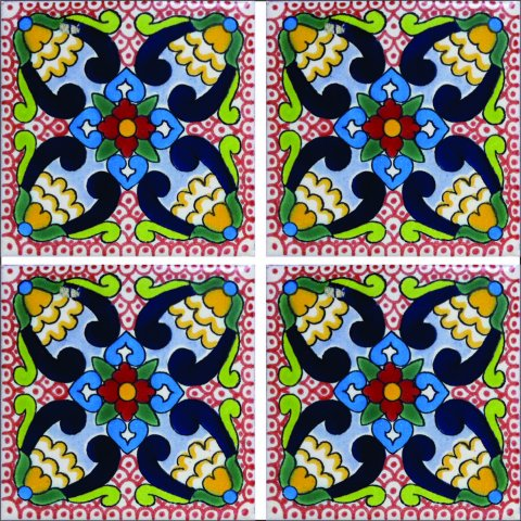 New Items / Talavera Tile 4x4 inch (90 pieces) - Style AZ003 / These beatiful handpainted Mexican Talavera tiles will give a colorful decorative touch to your bathrooms, vanities, window surrounds, fireplaces and more.