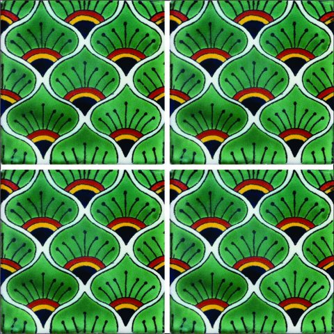 New Items / Talavera Tile 4x4 inch (90 pieces) - Style AZ004 / These beatiful handpainted Mexican Talavera tiles will give a colorful decorative touch to your bathrooms, vanities, window surrounds, fireplaces and more.