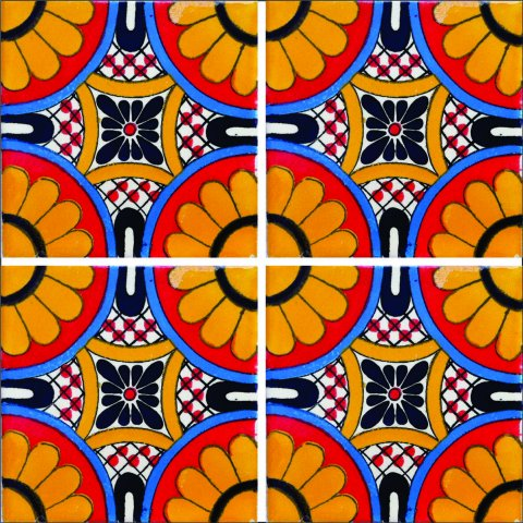 New Items / Talavera Tile 4x4 inch (90 pieces) - Style AZ006 / These beatiful handpainted Mexican Talavera tiles will give a colorful decorative touch to your bathrooms, vanities, window surrounds, fireplaces and more.