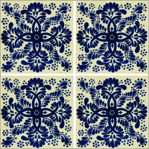 New Items / Talavera Tile 4x4 inch (90 pieces) - Style AZ007 / These beatiful handpainted Mexican Talavera tiles will give a colorful decorative touch to your bathrooms, vanities, window surrounds, fireplaces and more.