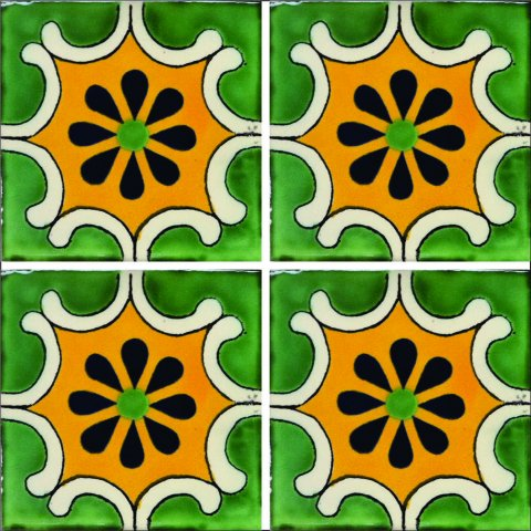 New Items / Talavera Tile 4x4 inch (90 pieces) - Style AZ008 / These beatiful handpainted Mexican Talavera tiles will give a colorful decorative touch to your bathrooms, vanities, window surrounds, fireplaces and more.