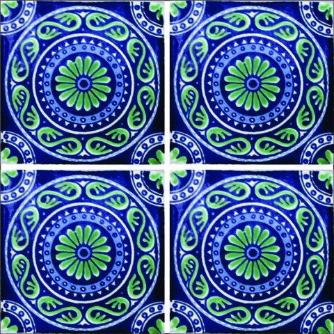 New Items / Talavera Tile 4x4 inch (90 pieces) - Style AZ009 / These beatiful handpainted Mexican Talavera tiles will give a colorful decorative touch to your bathrooms, vanities, window surrounds, fireplaces and more.