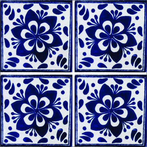 New Items / Talavera Tile 4x4 inch (90 pieces) - Style AZ010 / These beatiful handpainted Mexican Talavera tiles will give a colorful decorative touch to your bathrooms, vanities, window surrounds, fireplaces and more.