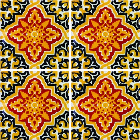 New Items / Talavera Tile 4x4 inch (90 pieces) - Style AZ011 / These beatiful handpainted Mexican Talavera tiles will give a colorful decorative touch to your bathrooms, vanities, window surrounds, fireplaces and more.