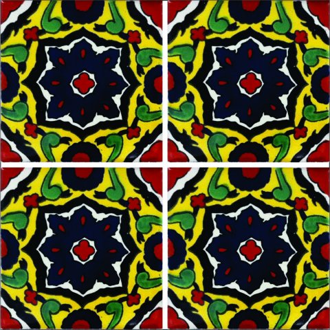New Items / Talavera Tile 4x4 inch (90 pieces) - Style AZ013 / These beatiful handpainted Mexican Talavera tiles will give a colorful decorative touch to your bathrooms, vanities, window surrounds, fireplaces and more.