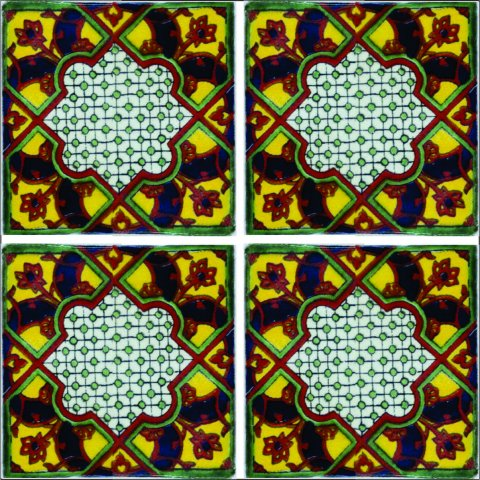 New Items / Talavera Tile 4x4 inch (90 pieces) - Style AZ015 / These beatiful handpainted Mexican Talavera tiles will give a colorful decorative touch to your bathrooms, vanities, window surrounds, fireplaces and more.