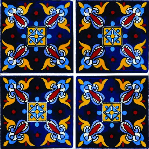 New Items / Talavera Tile 4x4 inch (90 pieces) - Style AZ016 / These beatiful handpainted Mexican Talavera tiles will give a colorful decorative touch to your bathrooms, vanities, window surrounds, fireplaces and more.