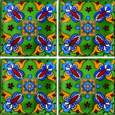 New Items / Talavera Tile 4x4 inch (90 pieces) - Style AZ017 / These beatiful handpainted Mexican Talavera tiles will give a colorful decorative touch to your bathrooms, vanities, window surrounds, fireplaces and more.