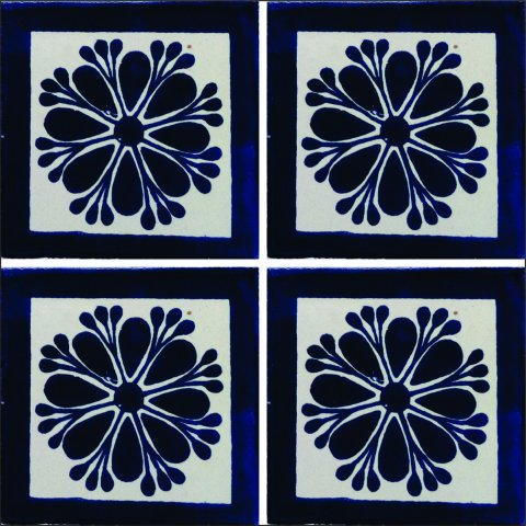New Items / Talavera Tile 4x4 inch (90 pieces) - Style AZ018 / These beatiful handpainted Mexican Talavera tiles will give a colorful decorative touch to your bathrooms, vanities, window surrounds, fireplaces and more.