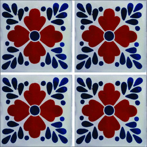 New Items / Talavera Tile 4x4 inch (90 pieces) - Style AZ019 / These beatiful handpainted Mexican Talavera tiles will give a colorful decorative touch to your bathrooms, vanities, window surrounds, fireplaces and more.
