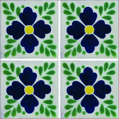 New Items / Talavera Tile 4x4 inch (90 pieces) - Style AZ020 / These beatiful handpainted Mexican Talavera tiles will give a colorful decorative touch to your bathrooms, vanities, window surrounds, fireplaces and more.