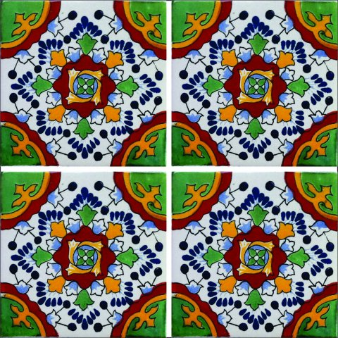 New Items / Talavera Tile 4x4 inch (90 pieces) - Style AZ021 / These beatiful handpainted Mexican Talavera tiles will give a colorful decorative touch to your bathrooms, vanities, window surrounds, fireplaces and more.