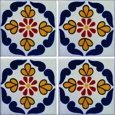 New Items / Talavera Tile 4x4 inch (90 pieces) - Style AZ022 / These beatiful handpainted Mexican Talavera tiles will give a colorful decorative touch to your bathrooms, vanities, window surrounds, fireplaces and more.