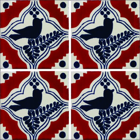 New Items / Talavera Tile 4x4 inch (90 pieces) - Style AZ023 / These beatiful handpainted Mexican Talavera tiles will give a colorful decorative touch to your bathrooms, vanities, window surrounds, fireplaces and more.