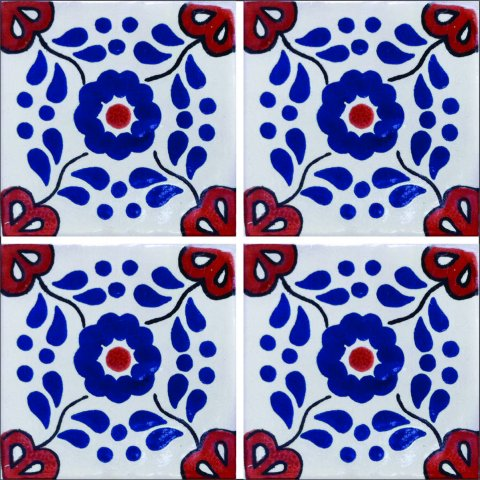 New Items / Talavera Tile 4x4 inch (90 pieces) - Style AZ024 / These beatiful handpainted Mexican Talavera tiles will give a colorful decorative touch to your bathrooms, vanities, window surrounds, fireplaces and more.