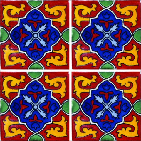 New Items / Talavera Tile 4x4 inch (90 pieces) - Style AZ026 / These beatiful handpainted Mexican Talavera tiles will give a colorful decorative touch to your bathrooms, vanities, window surrounds, fireplaces and more.