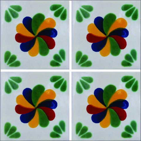 New Items / Talavera Tile 4x4 inch (90 pieces) - Style AZ027 / These beatiful handpainted Mexican Talavera tiles will give a colorful decorative touch to your bathrooms, vanities, window surrounds, fireplaces and more.