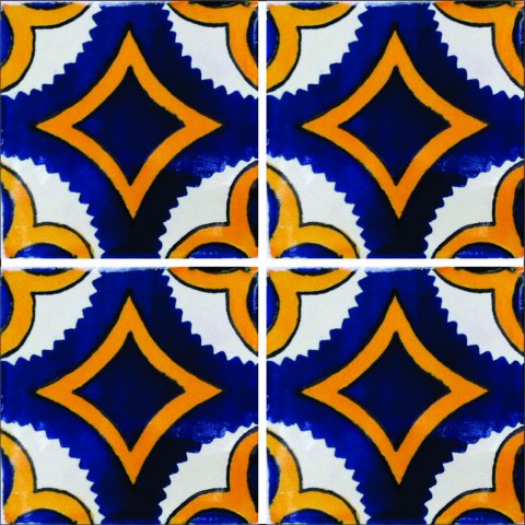 New Items / Talavera Tile 4x4 inch (90 pieces) - Style AZ031 / These beatiful handpainted Mexican Talavera tiles will give a colorful decorative touch to your bathrooms, vanities, window surrounds, fireplaces and more.