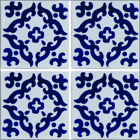 New Items / Talavera Tile 4x4 inch (90 pieces) - Style AZ034 / These beatiful handpainted Mexican Talavera tiles will give a colorful decorative touch to your bathrooms, vanities, window surrounds, fireplaces and more.