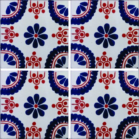 New Items / Talavera Tile 4x4 inch (90 pieces) - Style AZ035 / These beatiful handpainted Mexican Talavera tiles will give a colorful decorative touch to your bathrooms, vanities, window surrounds, fireplaces and more.
