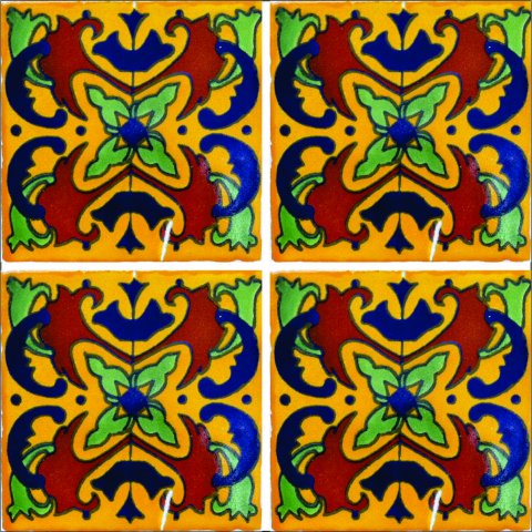 New Items / Talavera Tile 4x4 inch (90 pieces) - Style AZ036 / These beatiful handpainted Mexican Talavera tiles will give a colorful decorative touch to your bathrooms, vanities, window surrounds, fireplaces and more.