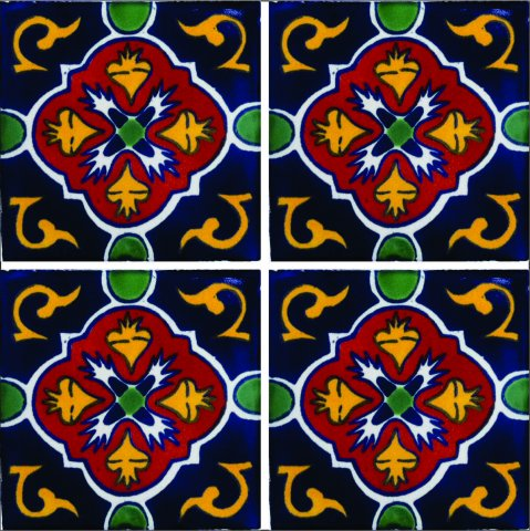 New Items / Talavera Tile 4x4 inch (90 pieces) - Style AZ037 / These beatiful handpainted Mexican Talavera tiles will give a colorful decorative touch to your bathrooms, vanities, window surrounds, fireplaces and more.