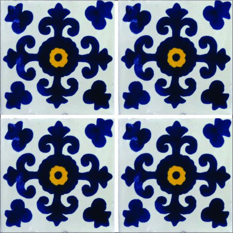 New Items / Talavera Tile 4x4 inch (90 pieces) - Style AZ038 / These beatiful handpainted Mexican Talavera tiles will give a colorful decorative touch to your bathrooms, vanities, window surrounds, fireplaces and more.