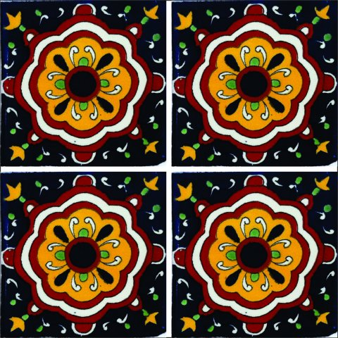New Items / Talavera Tile 4x4 inch (90 pieces) - Style AZ041 / These beatiful handpainted Mexican Talavera tiles will give a colorful decorative touch to your bathrooms, vanities, window surrounds, fireplaces and more.