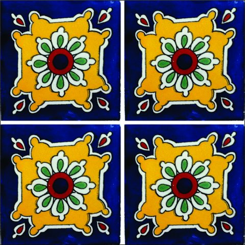 New Items / Talavera Tile 4x4 inch (90 pieces) - Style AZ042 / These beatiful handpainted Mexican Talavera tiles will give a colorful decorative touch to your bathrooms, vanities, window surrounds, fireplaces and more.