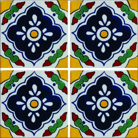 New Items / Talavera Tile 4x4 inch (90 pieces) - Style AZ043 / These beatiful handpainted Mexican Talavera tiles will give a colorful decorative touch to your bathrooms, vanities, window surrounds, fireplaces and more.