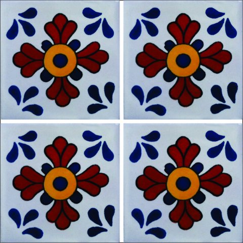 New Items / Talavera Tile 4x4 inch (90 pieces) - Style AZ044 / These beatiful handpainted Mexican Talavera tiles will give a colorful decorative touch to your bathrooms, vanities, window surrounds, fireplaces and more.