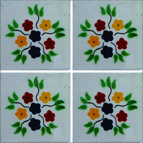 New Items / Talavera Tile 4x4 inch (90 pieces) - Style AZ046 / These beatiful handpainted Mexican Talavera tiles will give a colorful decorative touch to your bathrooms, vanities, window surrounds, fireplaces and more.
