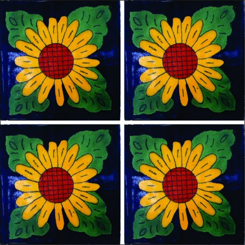 New Items / Talavera Tile 4x4 inch (90 pieces) - Style AZ047 / These beatiful handpainted Mexican Talavera tiles will give a colorful decorative touch to your bathrooms, vanities, window surrounds, fireplaces and more.