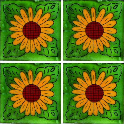 New Items / Talavera Tile 4x4 inch (90 pieces) - Style AZ048 / These beatiful handpainted Mexican Talavera tiles will give a colorful decorative touch to your bathrooms, vanities, window surrounds, fireplaces and more.