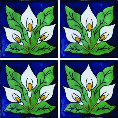 New Items / Talavera Tile 4x4 inch (90 pieces) - Style AZ050 / These beatiful handpainted Mexican Talavera tiles will give a colorful decorative touch to your bathrooms, vanities, window surrounds, fireplaces and more.