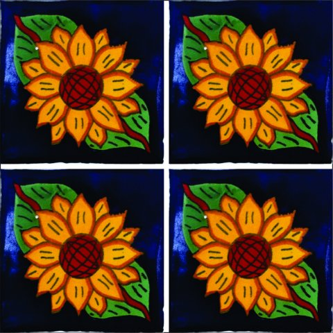 New Items / Talavera Tile 4x4 inch (90 pieces) - Style AZ055 / These beatiful handpainted Mexican Talavera tiles will give a colorful decorative touch to your bathrooms, vanities, window surrounds, fireplaces and more.
