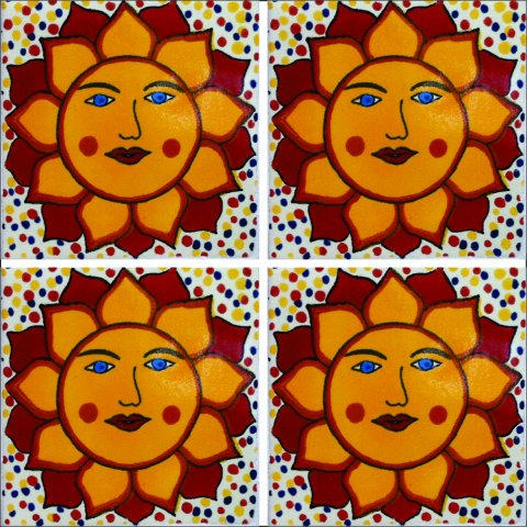 New Items / Talavera Tile 4x4 inch (90 pieces) - Style AZ056 / These beatiful handpainted Mexican Talavera tiles will give a colorful decorative touch to your bathrooms, vanities, window surrounds, fireplaces and more.