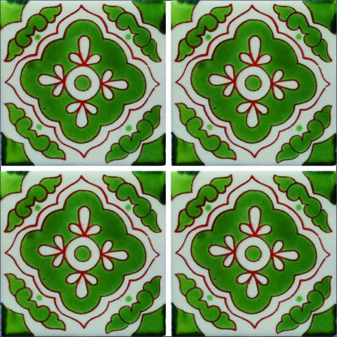New Items / Talavera Tile 4x4 inch (90 pieces) - Style AZ059 / These beatiful handpainted Mexican Talavera tiles will give a colorful decorative touch to your bathrooms, vanities, window surrounds, fireplaces and more.