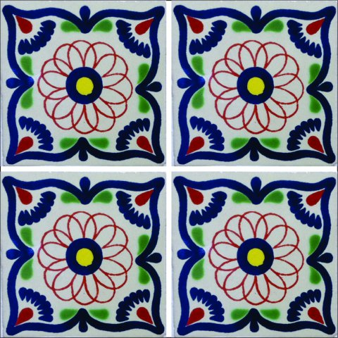 New Items / Talavera Tile 4x4 inch (90 pieces) - Style AZ060 / These beatiful handpainted Mexican Talavera tiles will give a colorful decorative touch to your bathrooms, vanities, window surrounds, fireplaces and more.