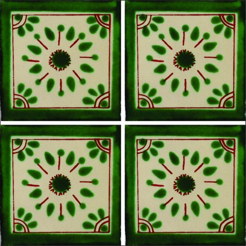 New Items / Talavera Tile 4x4 inch (90 pieces) - Style AZ063 / These beatiful handpainted Mexican Talavera tiles will give a colorful decorative touch to your bathrooms, vanities, window surrounds, fireplaces and more.