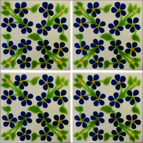 New Items / Talavera Tile 4x4 inch (90 pieces) - Style AZ064 / These beatiful handpainted Mexican Talavera tiles will give a colorful decorative touch to your bathrooms, vanities, window surrounds, fireplaces and more.