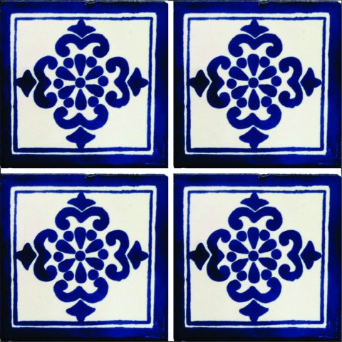 New Items / Talavera Tile 4x4 inch (90 pieces) - Style AZ067 / These beatiful handpainted Mexican Talavera tiles will give a colorful decorative touch to your bathrooms, vanities, window surrounds, fireplaces and more.