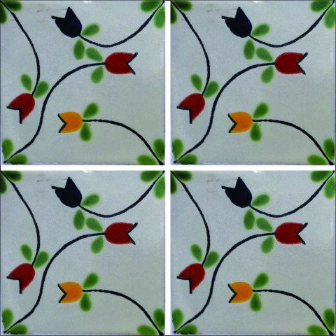 New Items / Talavera Tile 4x4 inch (90 pieces) - Style AZ071 / These beatiful handpainted Mexican Talavera tiles will give a colorful decorative touch to your bathrooms, vanities, window surrounds, fireplaces and more.