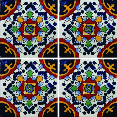 New Items / Talavera Tile 4x4 inch (90 pieces) - Style AZ072 / These beatiful handpainted Mexican Talavera tiles will give a colorful decorative touch to your bathrooms, vanities, window surrounds, fireplaces and more.