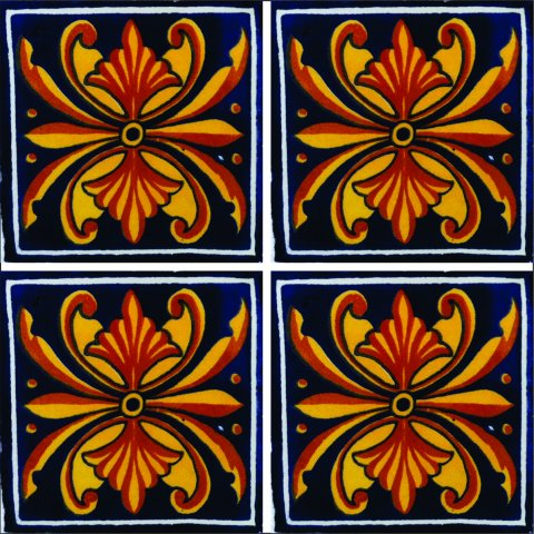 New Items / Talavera Tile 4x4 inch (90 pieces) - Style AZ073 / These beatiful handpainted Mexican Talavera tiles will give a colorful decorative touch to your bathrooms, vanities, window surrounds, fireplaces and more.