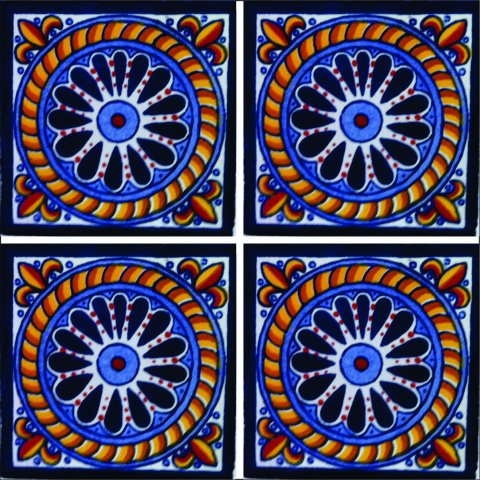 New Items / Talavera Tile 4x4 inch (90 pieces) - Style AZ074 / These beatiful handpainted Mexican Talavera tiles will give a colorful decorative touch to your bathrooms, vanities, window surrounds, fireplaces and more.