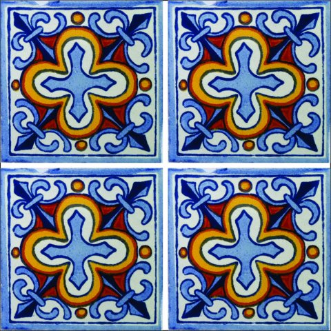New Items / Talavera Tile 4x4 inch (90 pieces) - Style AZ075 / These beatiful handpainted Mexican Talavera tiles will give a colorful decorative touch to your bathrooms, vanities, window surrounds, fireplaces and more.