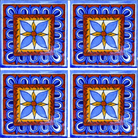 New Items / Talavera Tile 4x4 inch (90 pieces) - Style AZ076 / These beatiful handpainted Mexican Talavera tiles will give a colorful decorative touch to your bathrooms, vanities, window surrounds, fireplaces and more.