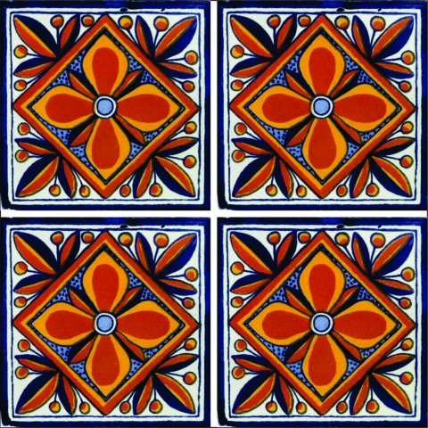 New Items / Talavera Tile 4x4 inch (90 pieces) - Style AZ077 / These beatiful handpainted Mexican Talavera tiles will give a colorful decorative touch to your bathrooms, vanities, window surrounds, fireplaces and more.