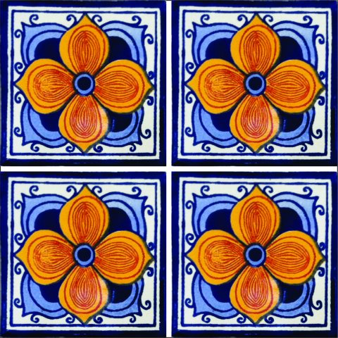New Items / Talavera Tile 4x4 inch (90 pieces) - Style AZ078 / These beatiful handpainted Mexican Talavera tiles will give a colorful decorative touch to your bathrooms, vanities, window surrounds, fireplaces and more.